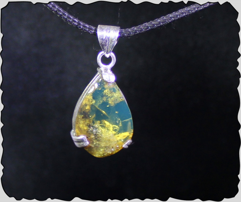 Dominican Natural Clear Sky Blue Amber .925 Sterling Silver Pendant 1.4inch