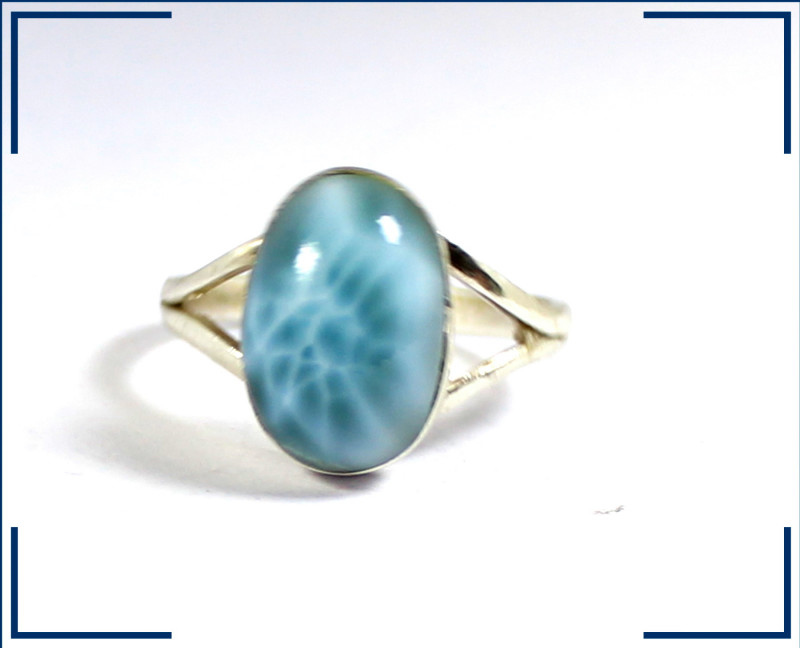 Exquisite Natural Sky Blue Larimar .925 Sterling Silver Ring #8
