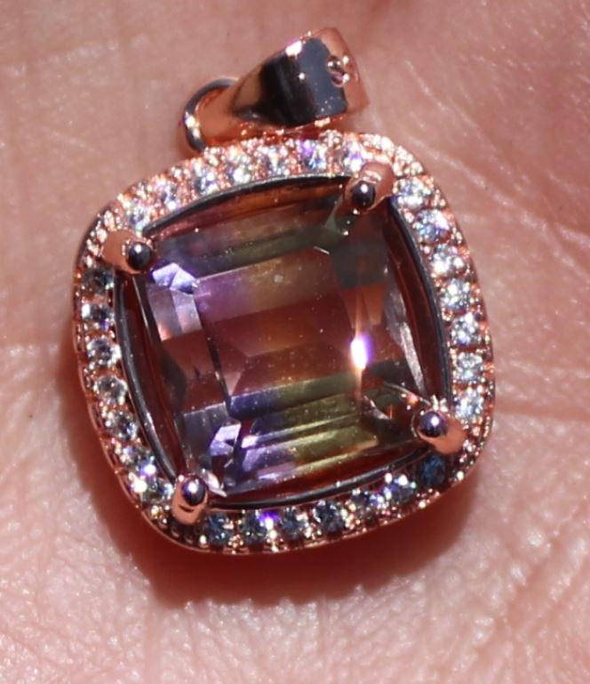 Ametrine 3.79ct Rose Gold Finish Solid 925 Sterling Silver Pendant