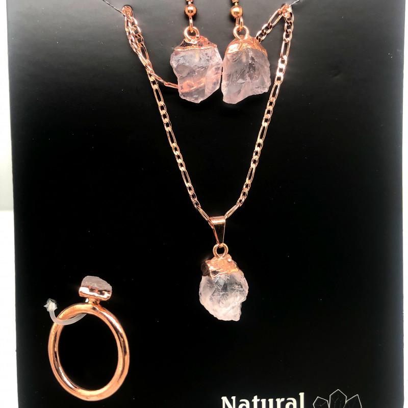Raw Rose quartz  5 piece set    BR2288