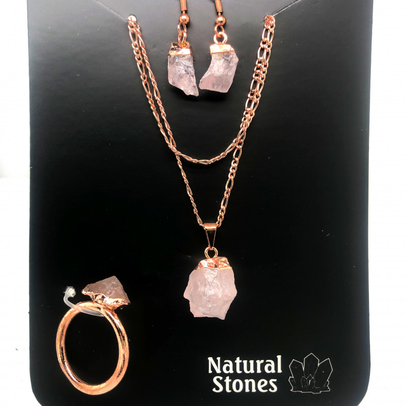 Raw Rose quartz  5 piece set    BR2289