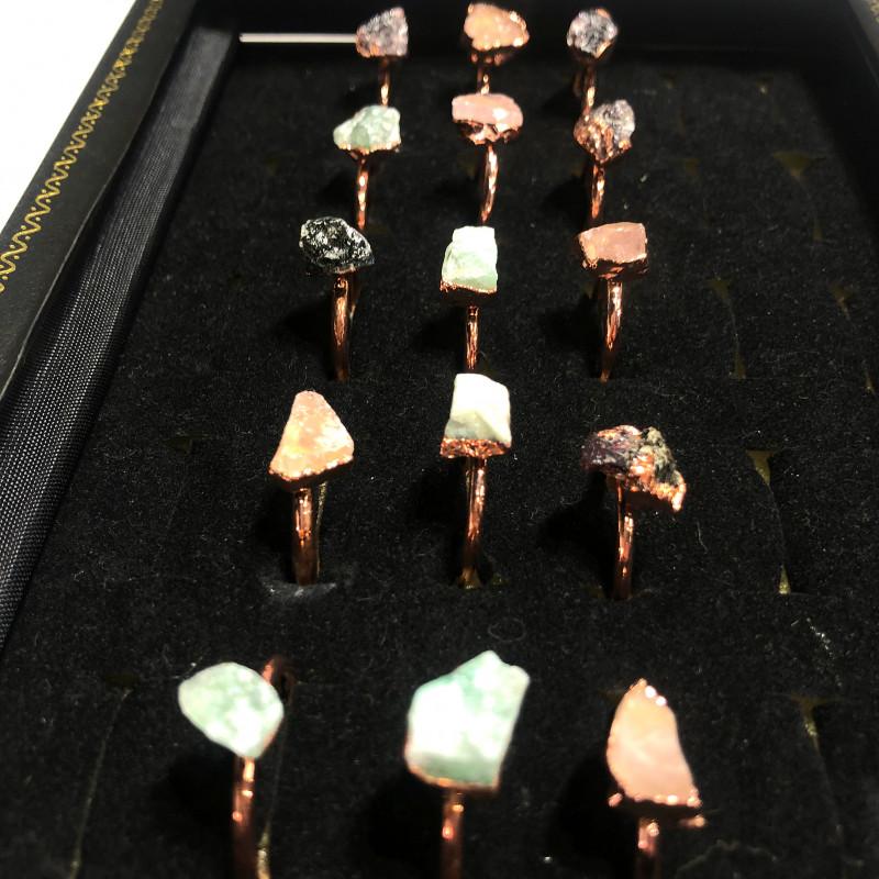 Garnet , Crystal , Aventurine Copper Rings 15 pcs BR 2295