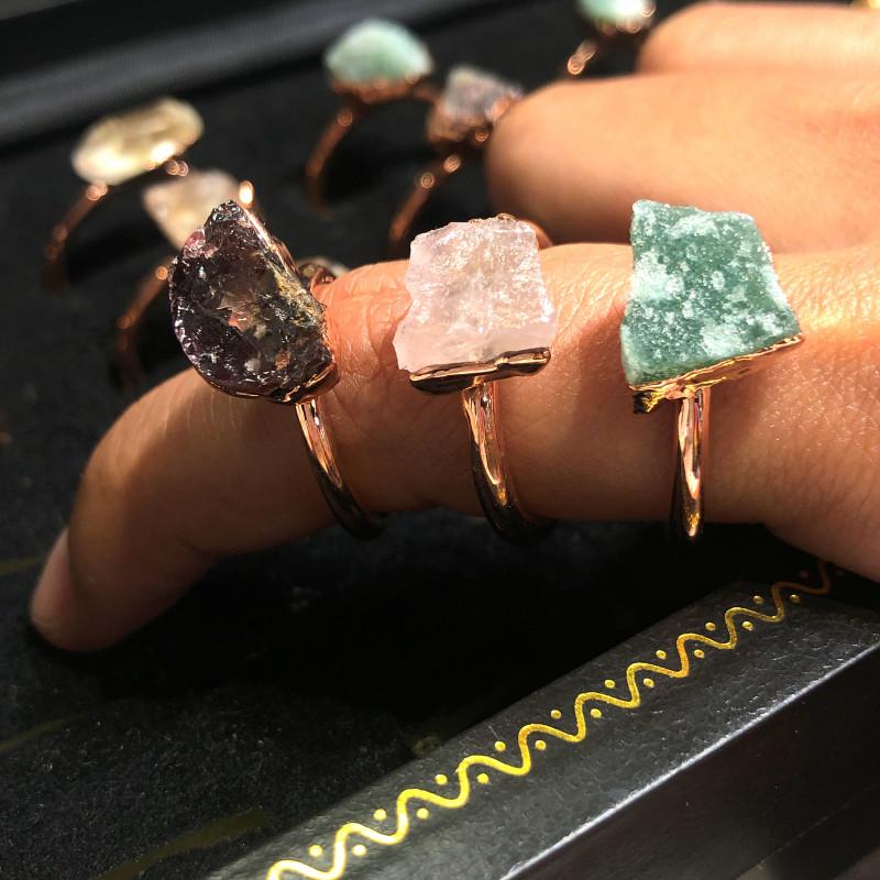 Raw Amethyst ,Garnet ,Aventurine gemstones Copper Rings 15 pcs BR 2316
