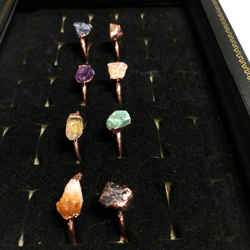 Eight Raw gemstones Ring Size 5 Copper Rings BR 2329