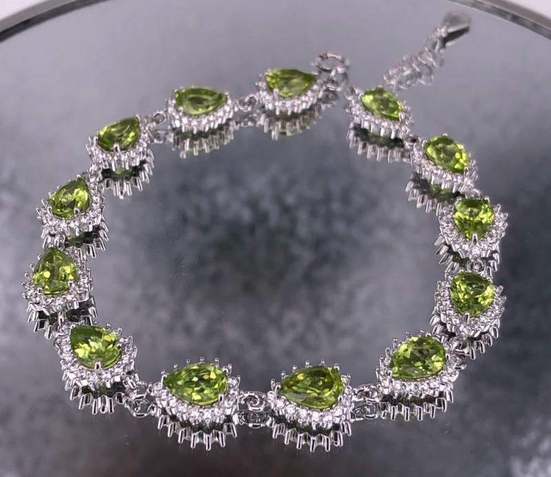 Pear Shaped Peridot Bracelet 925 Silver by DANI Jewellery