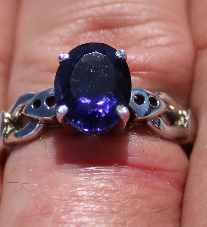 Iolite 2.73ct Rhodium Finish Solid 925 Sterling Silver Solitaire Ring