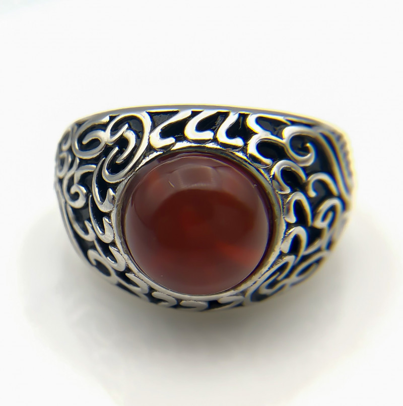 47.66 Crt Natural Red Agate 925 Silver Ring