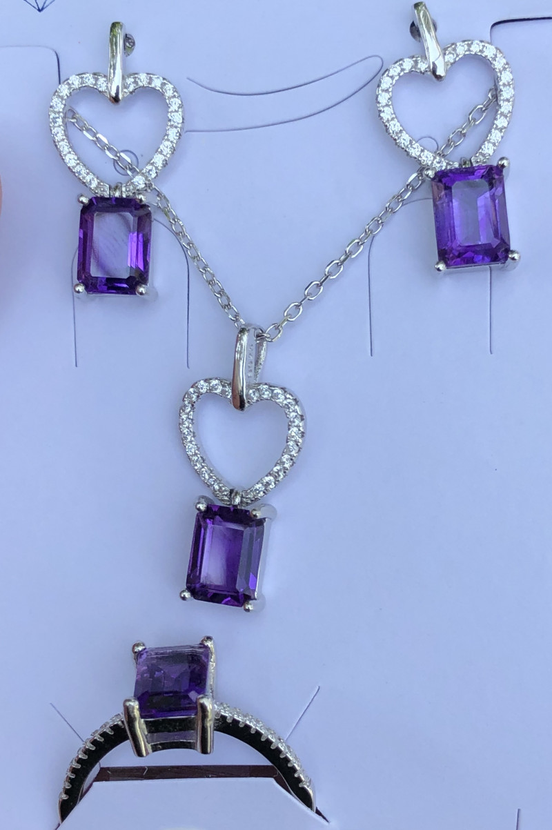 Natural Amethyst Full Set Necklace Earrings And Ring