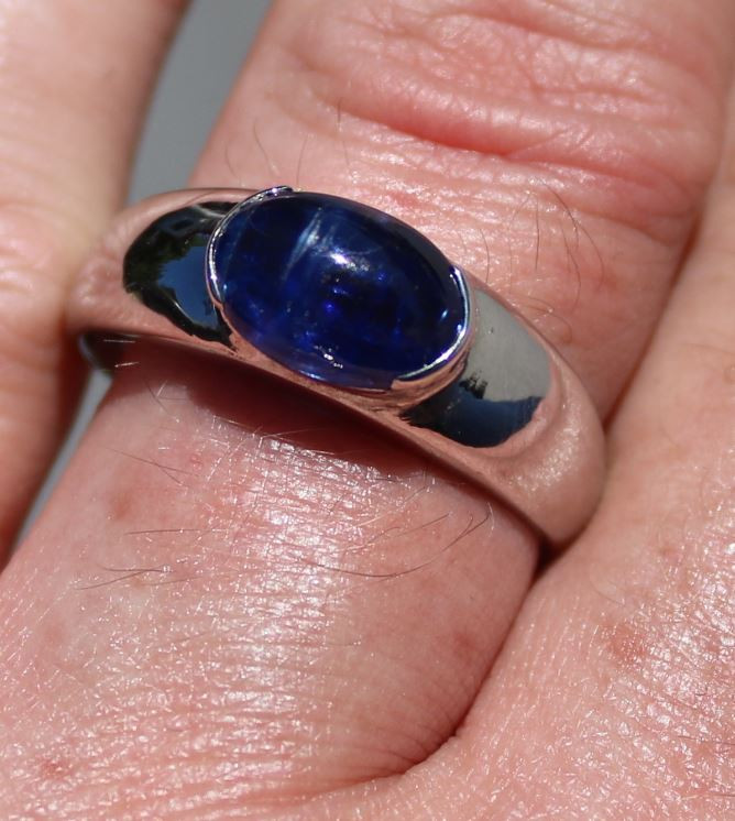 Kyanite 3.41ct Rhodium Finish Solid 925 Sterling Silver Men and Boys Ring