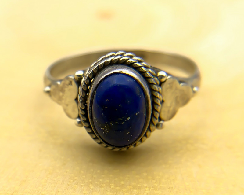 11.40 Crt Natural Lapis Lazuli 925 Silver Ring