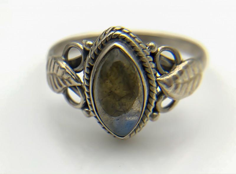 12.29 Crt Natural Labradorite 925 Silver Ring