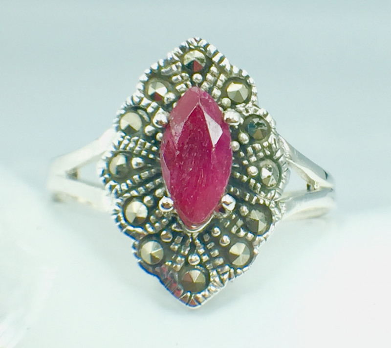 Natural Ruby Good Quality Gemstone. Silver 925 Ring.  DRB 82