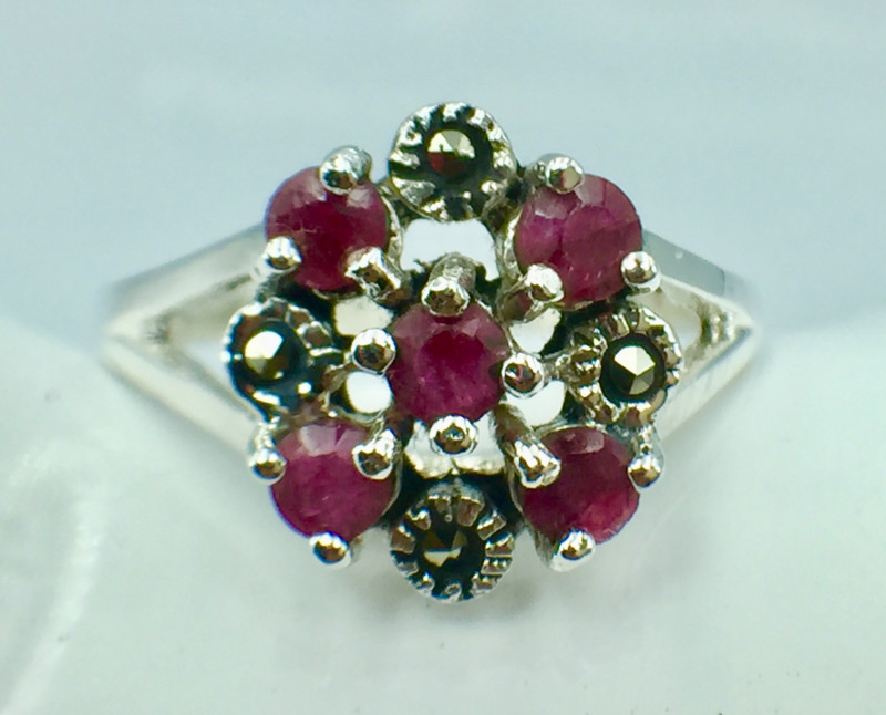 Natural Ruby Good Quality Gemstone. Silver 925 Ring.  DRB 85