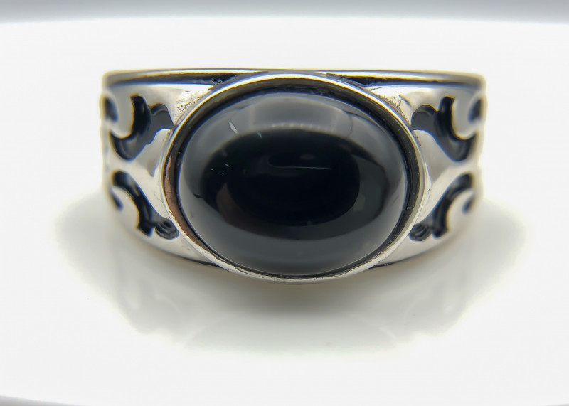 44.58 Crt Natural Black Onyx 925 Silver Ring
