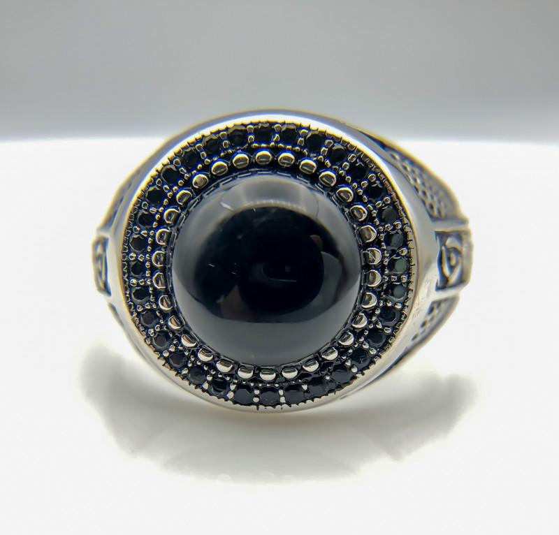 34.66 Crt Natural Black Onyx 925 Silver Ring