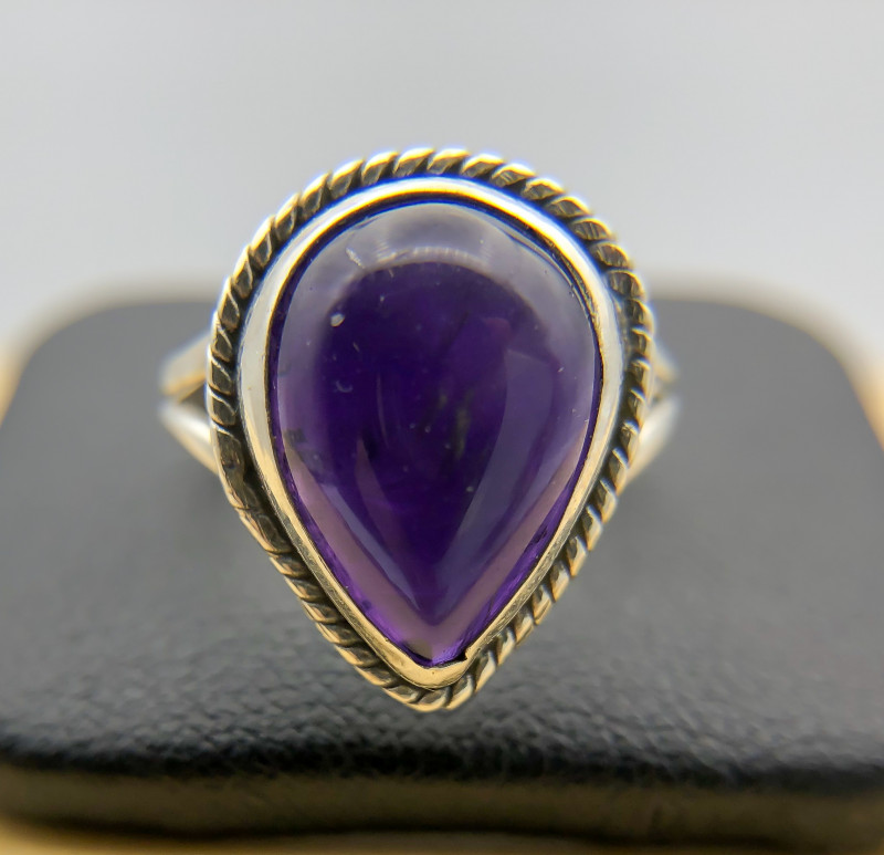 17.00 Crt Natural Amethyst 925 Silver Ring