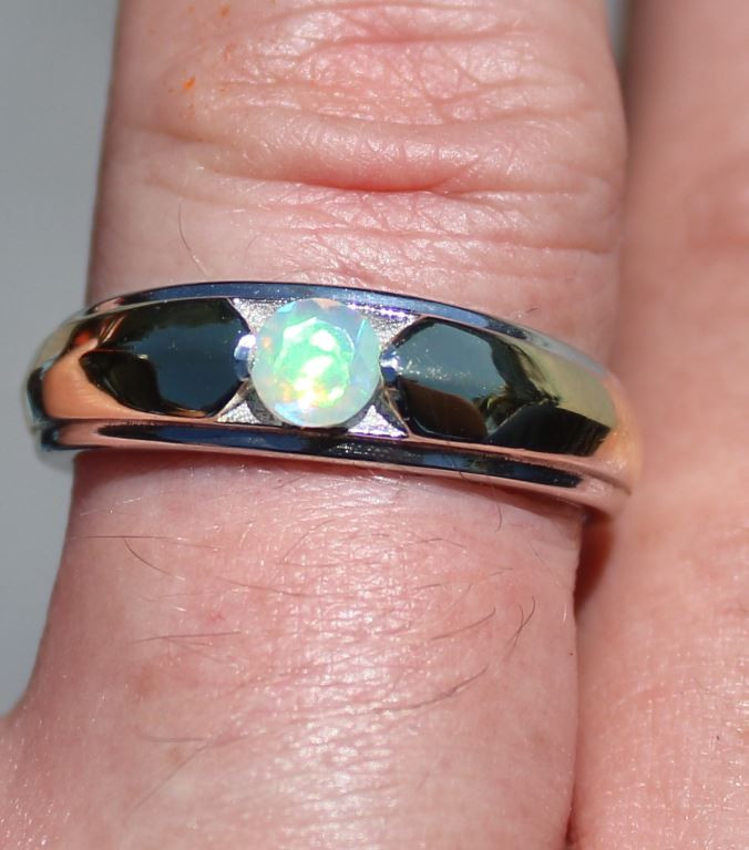 Precious Opal .60ct Rhodium Finish Solid 925 Sterling Silver Solitaire Ring