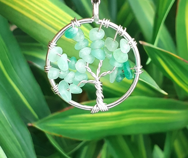 Natural 19.35 Ct. Nice Style Of Tree Pendant  Green Agate  in Stainless Ste