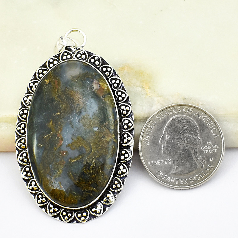 Genuine 90.00 Cts Moss Agate Pendant