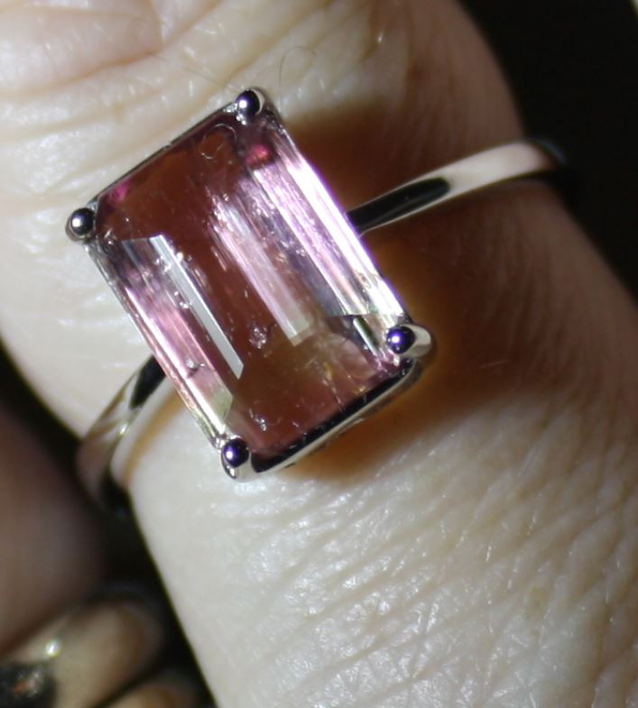Watermelon Tourmaline 3.71ct Solid 18K White Gold, Solitaire Ring, Natural,