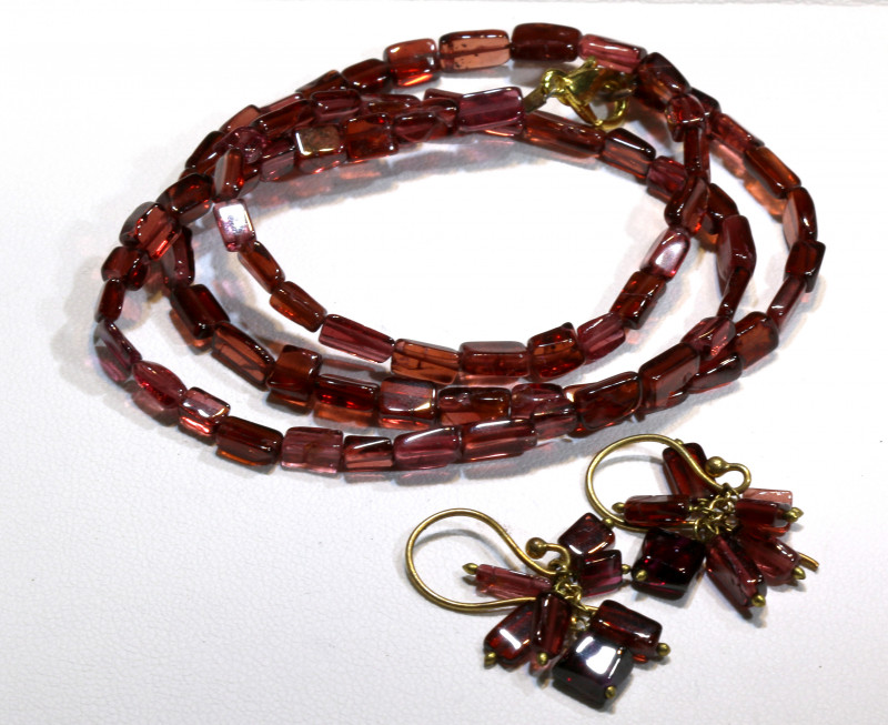 64 CTS GARNET BEAD NECKLACE WITH EARRING SJ-1050