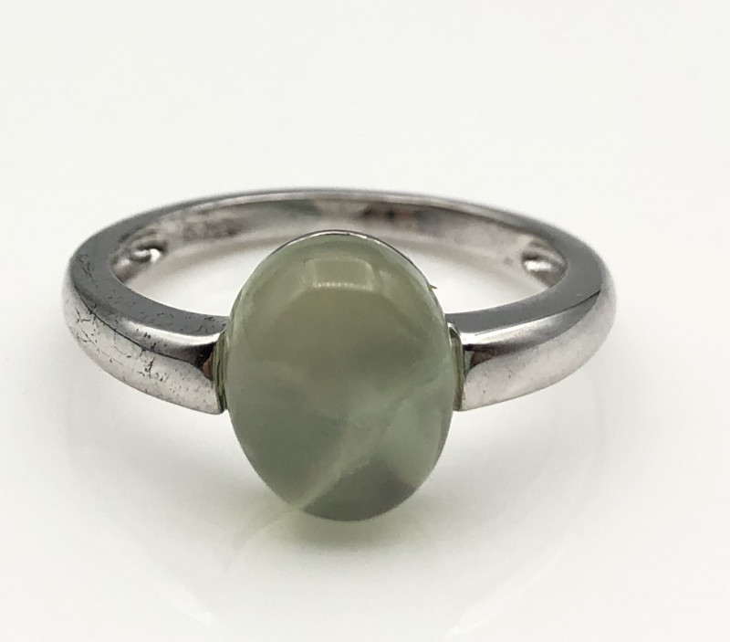14.35 Crt Natural Prehnite 925 Silver Ring