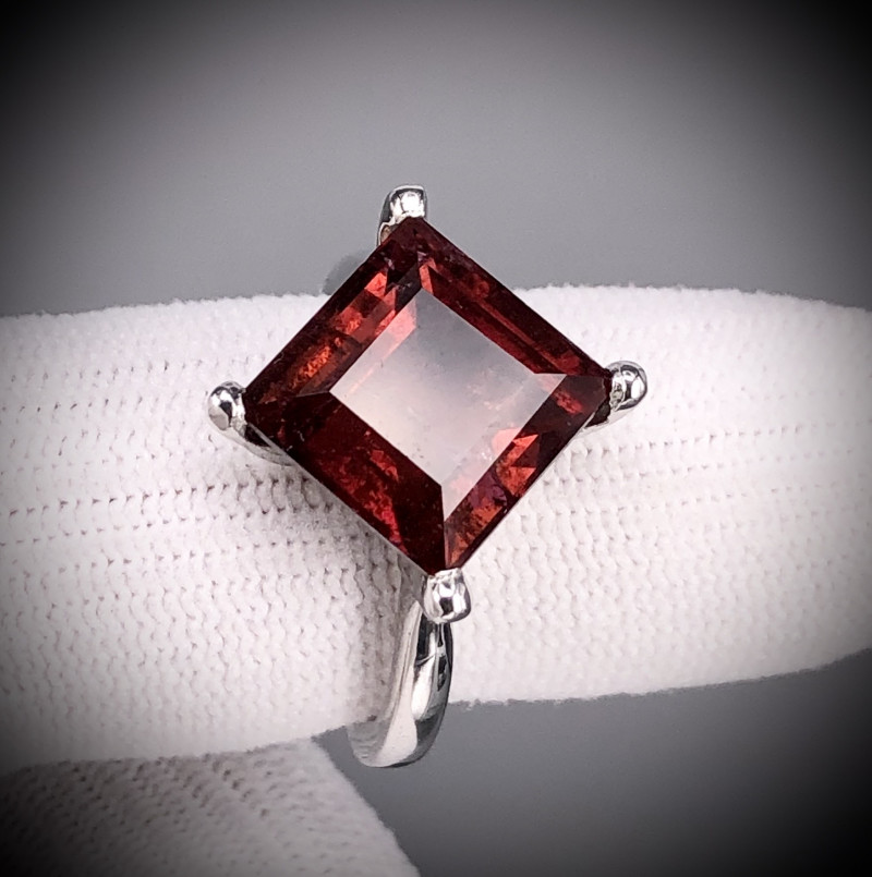 Red Tourmaline in  925 Silver Ring by DANI Jewellery