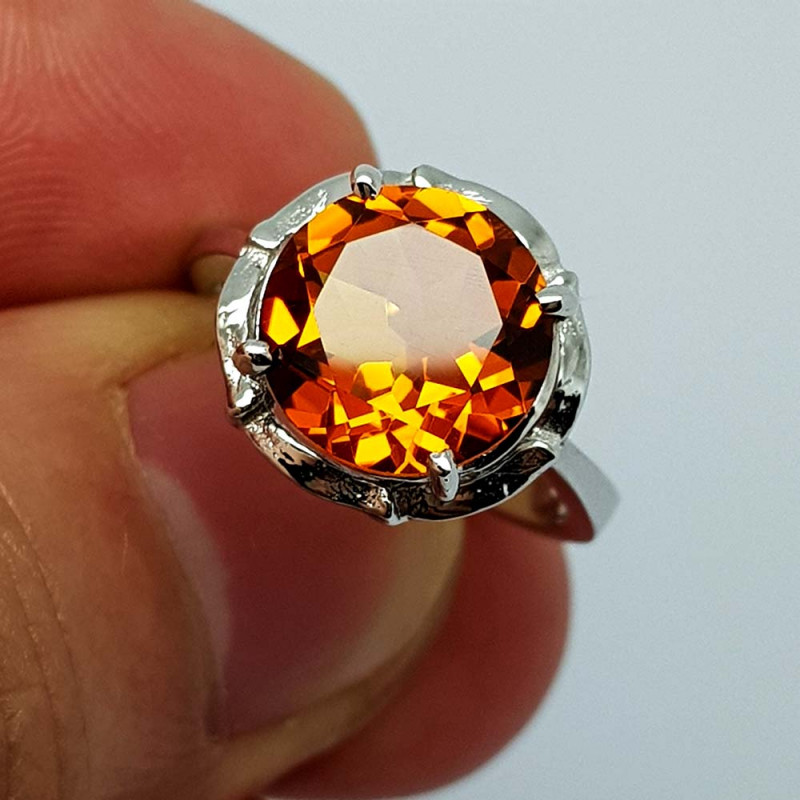 19.75 CT Madeira Citrine 925 Silver Ring