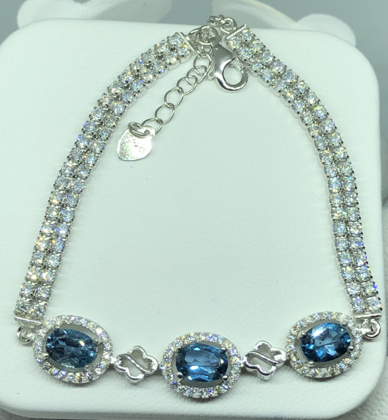 Natural London Blue Topaz With Cz 925 Silver Bracelet
