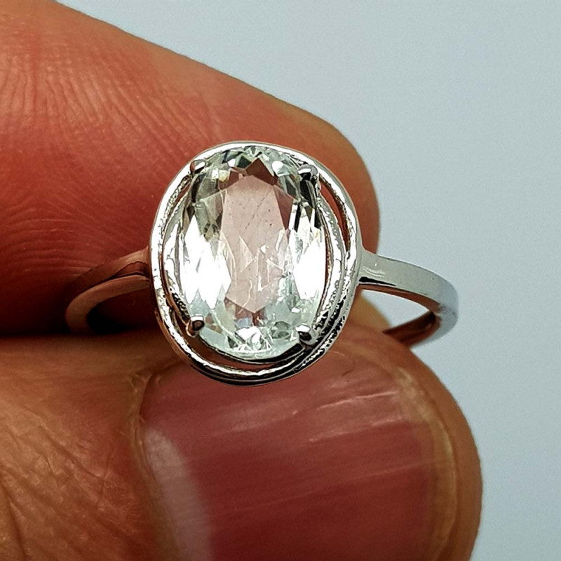6.75 CT Aquamarine 925 Silver Ring , 10X6X4mm
