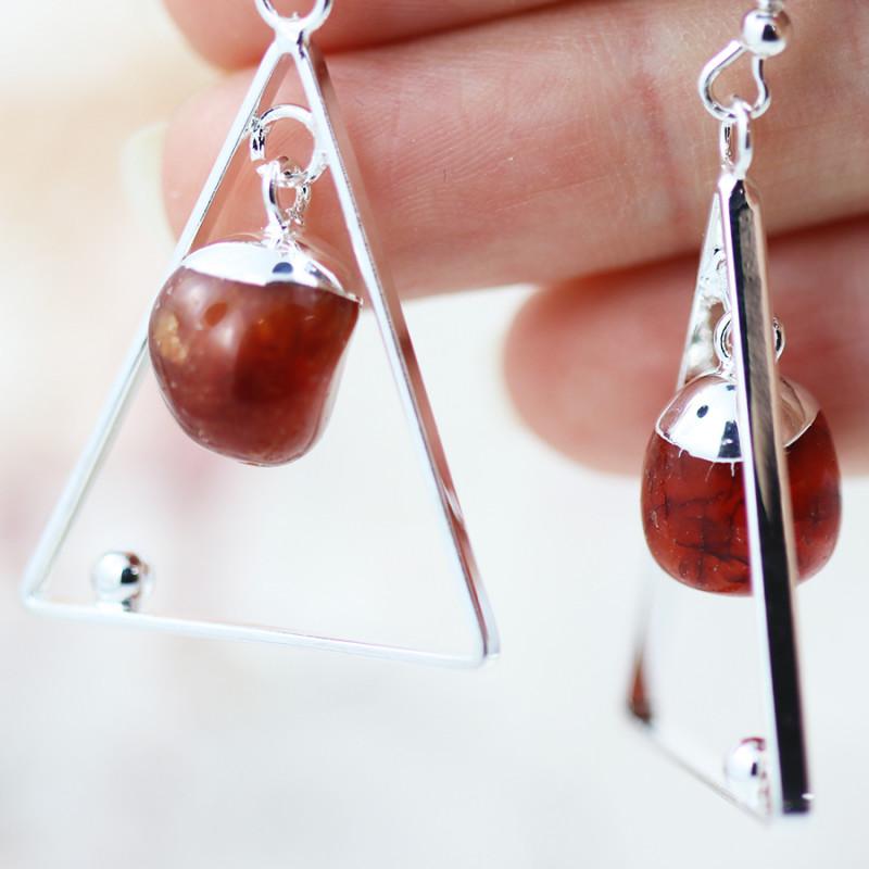 Earth Design Polished Carnelian  Gemstone  Earrings  BR 2698