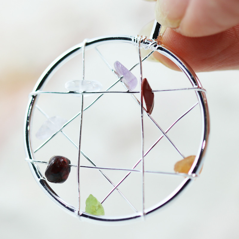 Seven Chakra - natural stones - Dream Catcher  pendant BR 2713