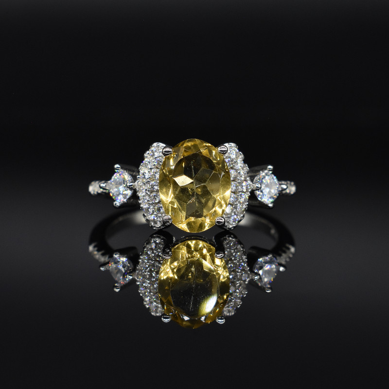EXCLUSIVE RING Made with Genuine CITRINE  and Sterling Silver GR812