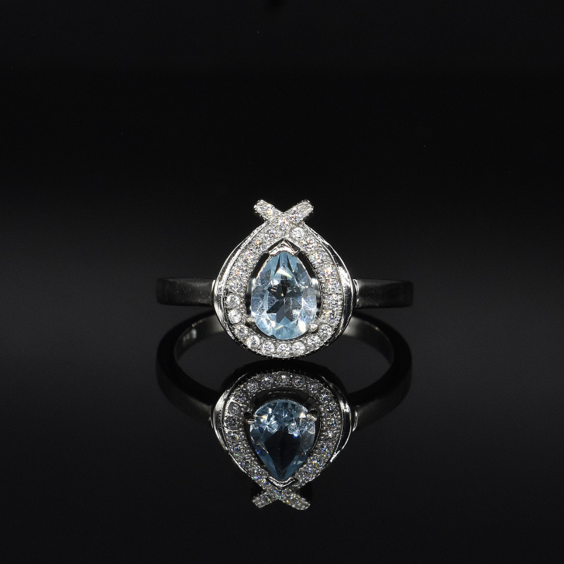 EXCLUSIVE RING Made with Genuine BLUE TOPAZ  and Sterling Silver GR813