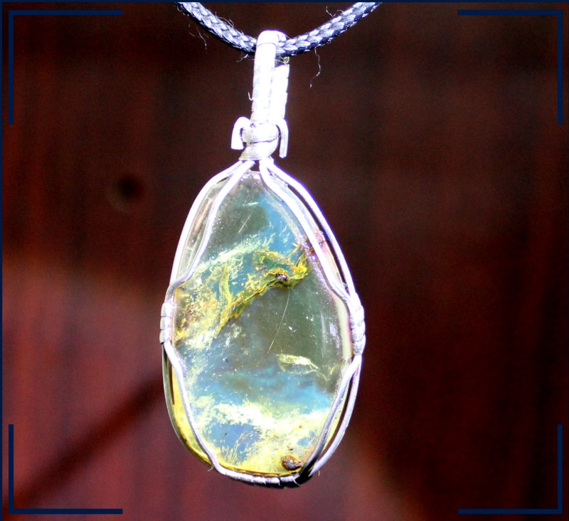 Handcrafted Dominican Natural Clear Yellow Blue Amber .925 Sterling Silver