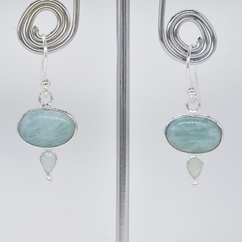 AMAZONITE/AQUAMARINE  EARRINGS 925 STERLING SILVER NATURAL GEMSTONE JE317