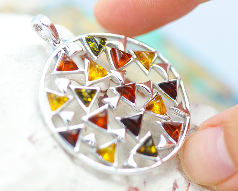 Baltic Amber Large Multi Pendant  ,direct from Poland AM1473