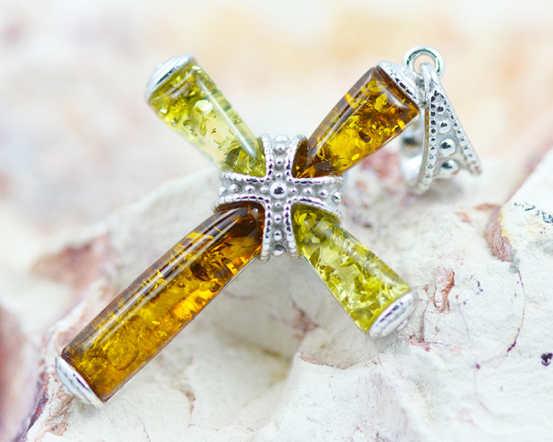 Baltic Amber Dual Tone Cross Pendant  ,direct from Poland AM1493