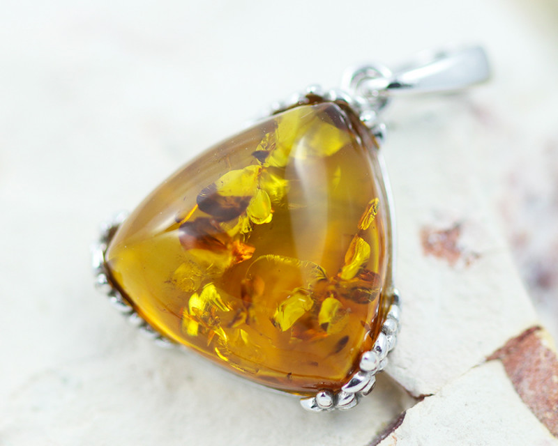 Baltic Amber Tri Pendant  ,direct from Poland AM1504
