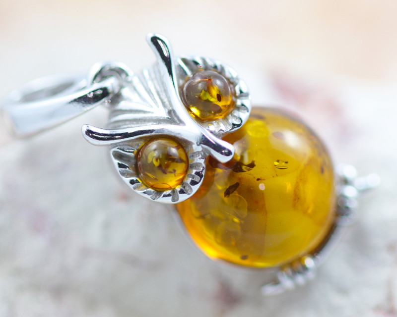 Baltic Amber  Cute Owl  Pendant  ,direct from Poland AM1559