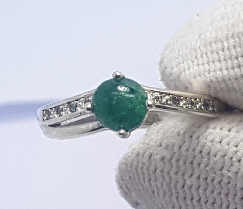 11.10 Carats Natural Emerald Cabochon Silver Ring