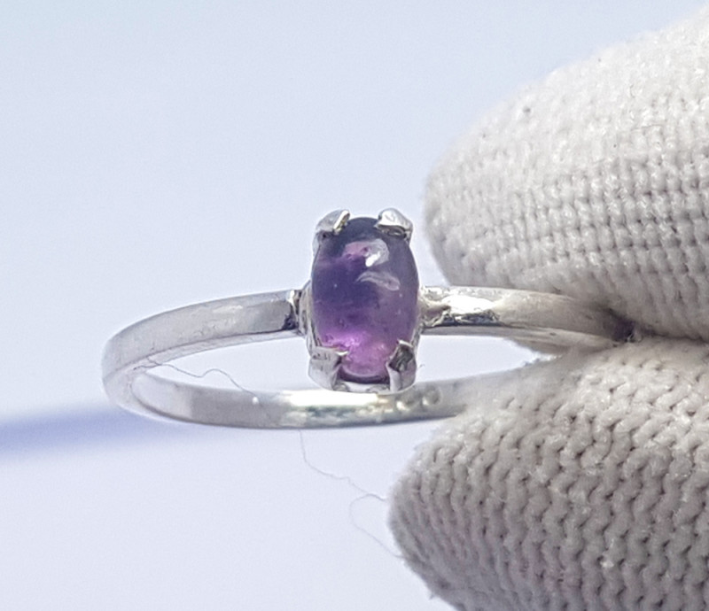 6.75 Carats Natural Purple Amethyst Cabochon Silver Ring