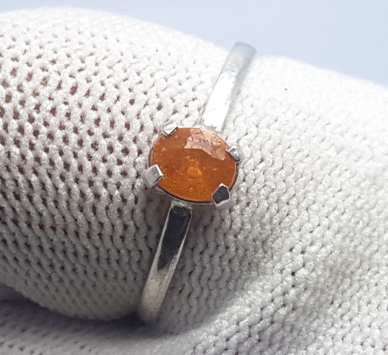 6.85 Carats Natural Hessonite Garnet Silver Ring