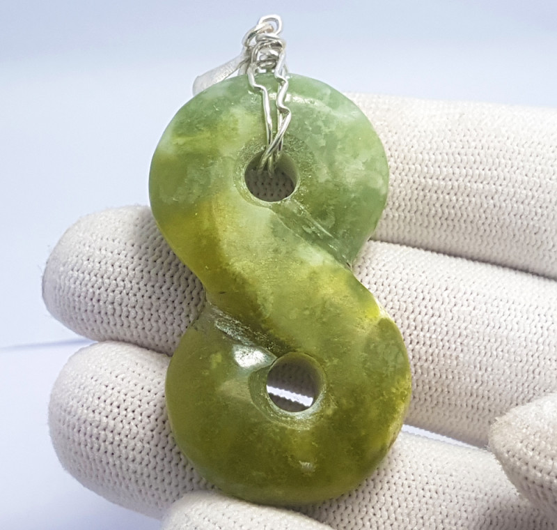 94.45 Carats Natural Green Grossular Crafted Silver Pendant