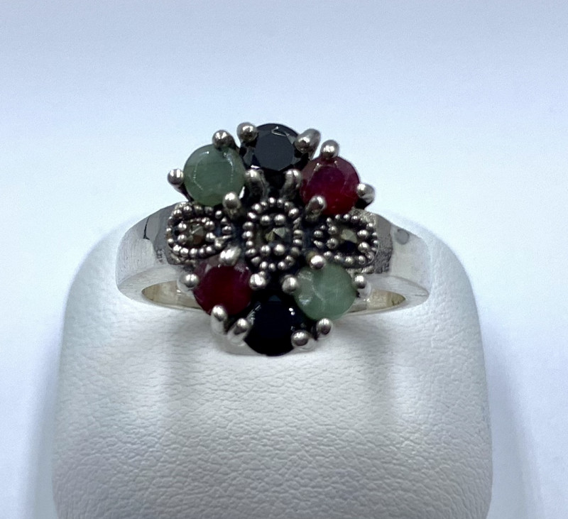 RUBY EMERALD SAPPHIRE SILVER RING CLASSIC JEWELLERY AR24