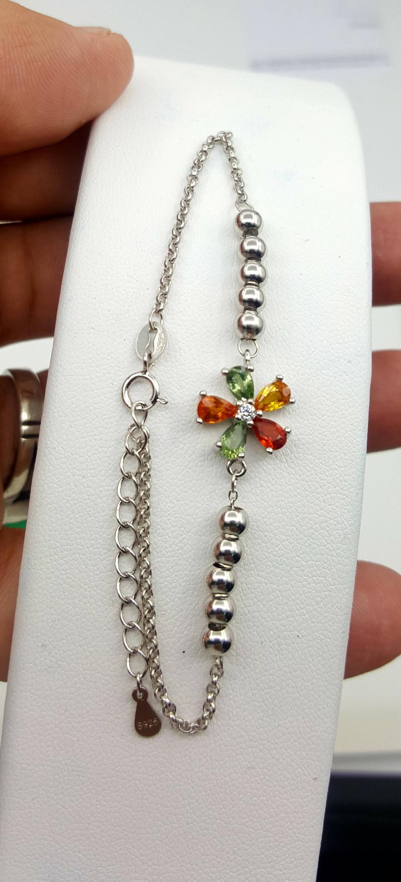 Natural multi color Sapphire bracelet.