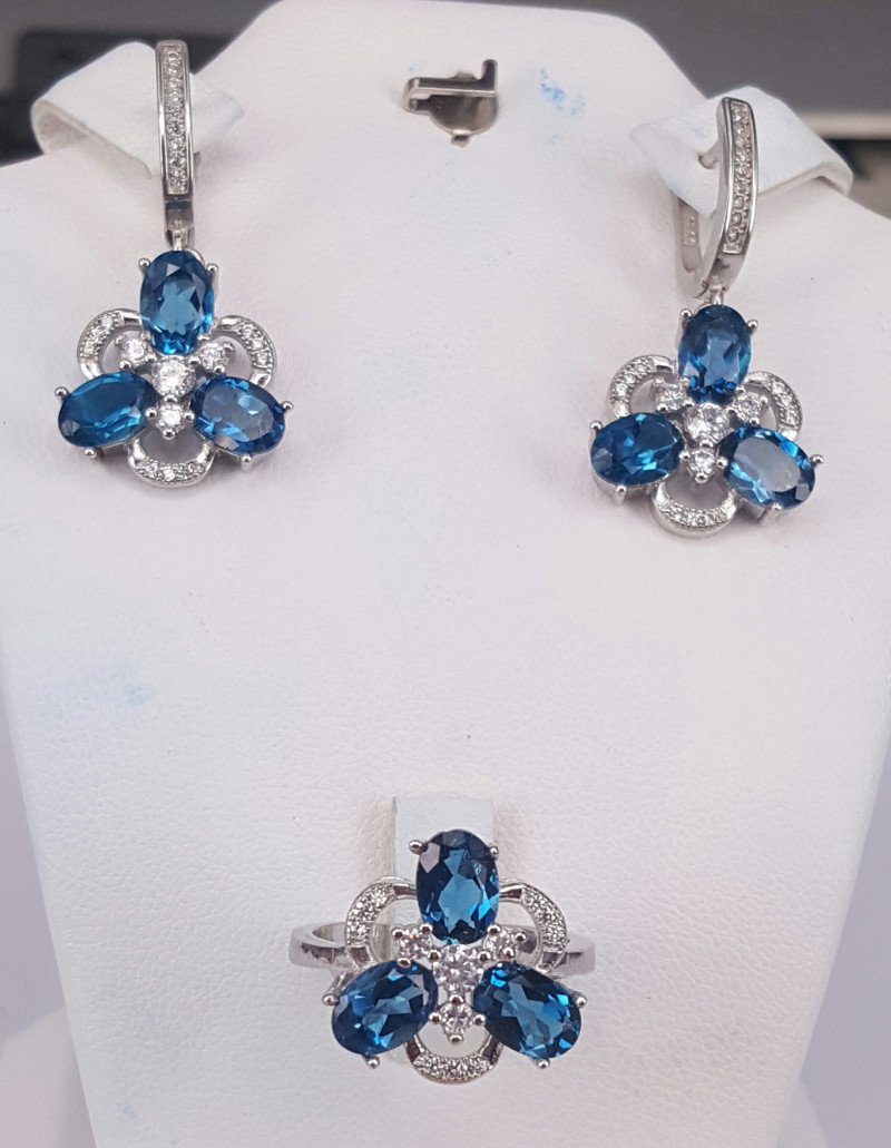 Natural Swiss blue topaz Ring and Earrings