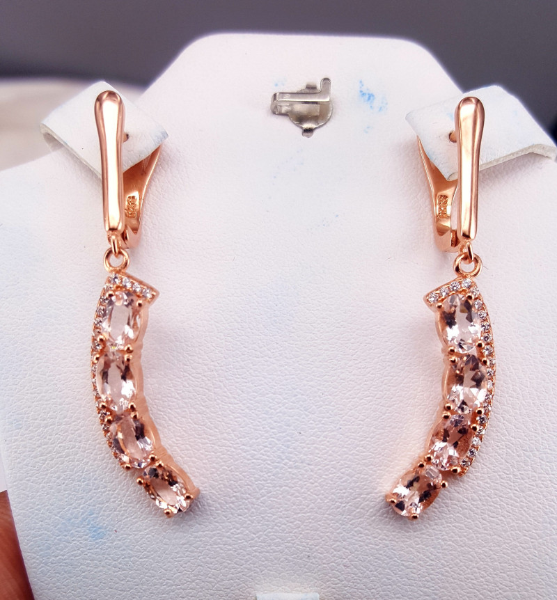 Natural Morganite Earrings with CZ in sliver 925 Rose Gold plated.