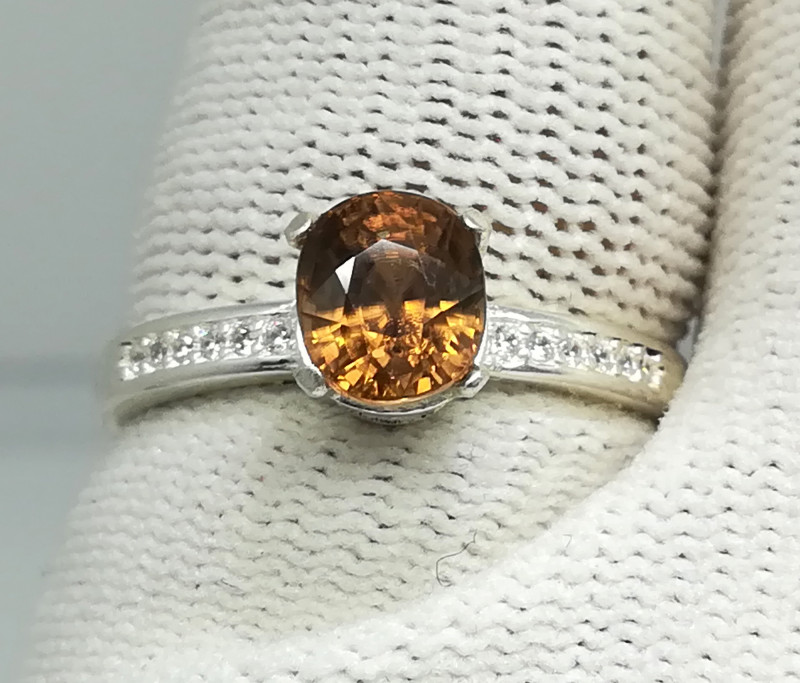 Natural Imperial Zircon 13.80 Carats 925 Silver Ring N09