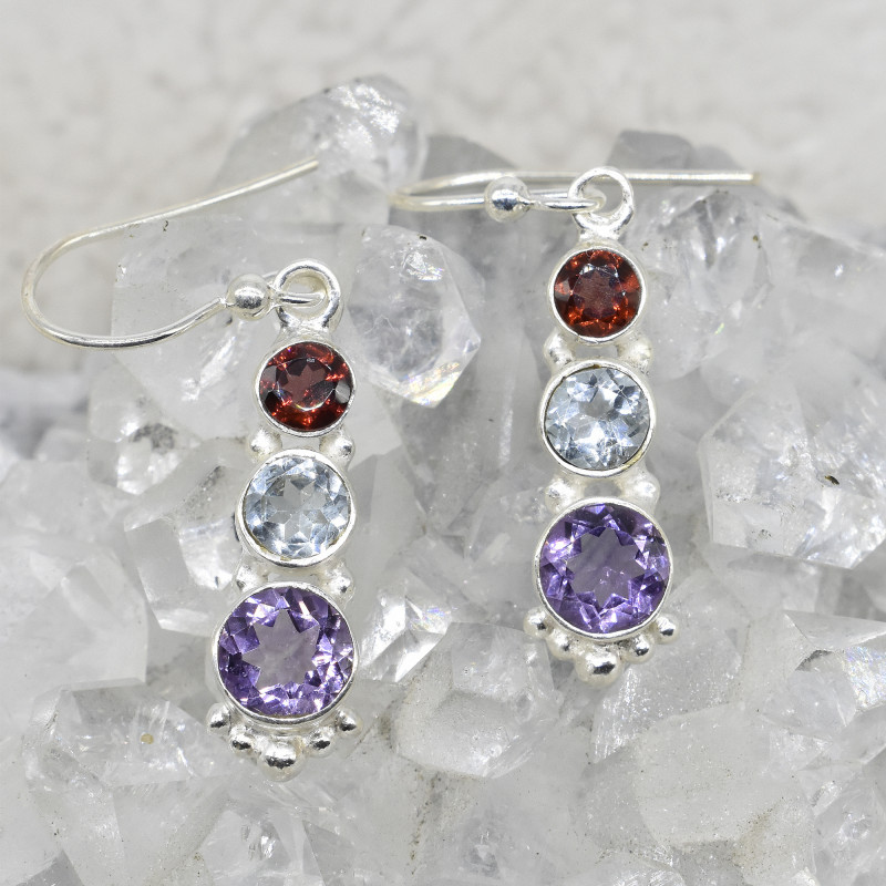 MULTI EARRINGS 925 STERLING SILVER NATURAL GEMSTONE JE418